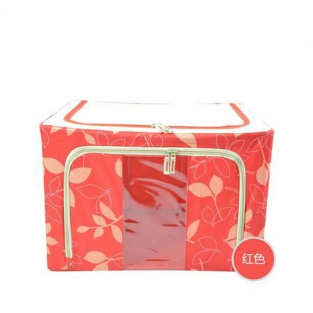 普润 55L红色 牛津布钢架百纳箱 整理收纳箱 红色树叶 单视 双开门