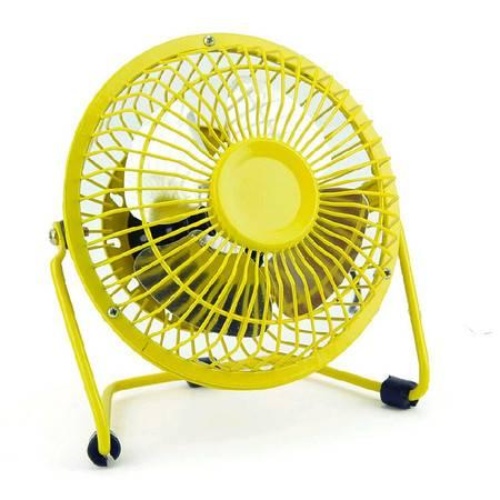 耀点100 360度旋转4寸迷你金属结构静音铝叶桌面USB电风扇静音电脑小风扇 黄色