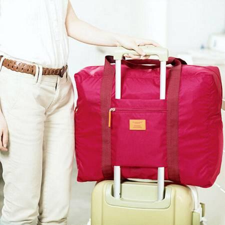 防水尼龙折叠式旅行收纳包 旅游收纳袋 男女士衣服整理袋 玫红色