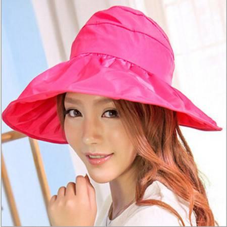 可折叠遮阳帽防晒帽子防紫外线帽大檐帽海边沙滩太阳帽空顶帽 玫红色