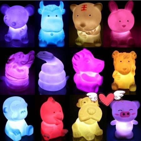 耀点100 动物小公仔LED小夜灯 造型款式花色随机