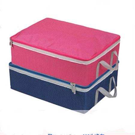 耀点100 圆点牛津布大号花边有拉链带盖衣物收纳箱 内衣杂物收纳盒 粉色
