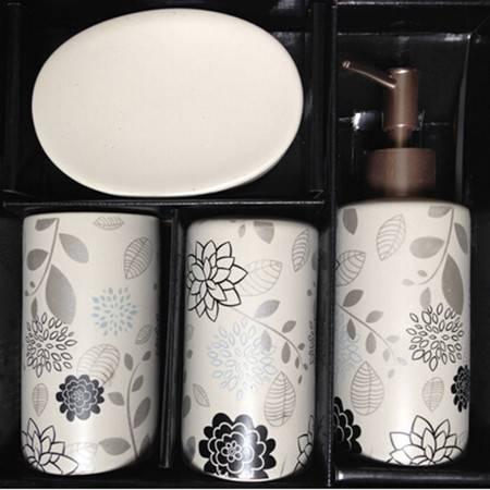 卫浴套件时光屋 简洁系列绘花别致卫浴四件装 黑花