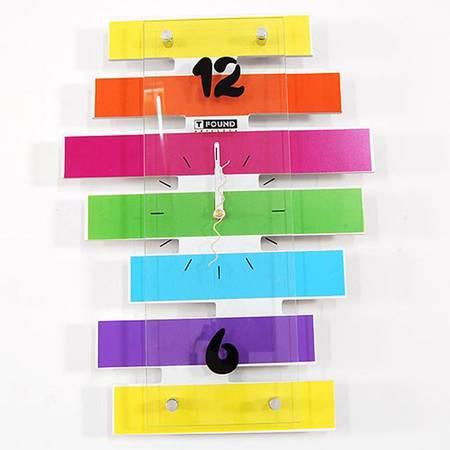 创意家居彩色横条挂钟 田园欧式卧室超静音挂钟 时尚工艺钟