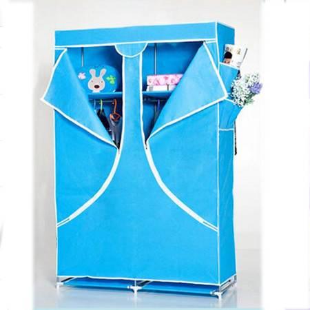 简易衣柜 大号天蓝色布衣橱 简易布衣柜折叠组合收纳整理柜
