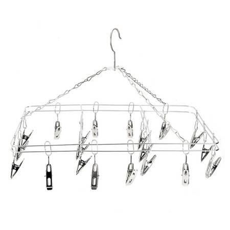 双层实心不锈钢晾晒架 晒衣架方形(20夹)