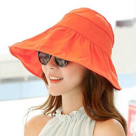 红兔子可折叠遮阳帽防晒帽子防紫外线帽大檐帽海边沙滩太阳帽空顶帽 橙色
