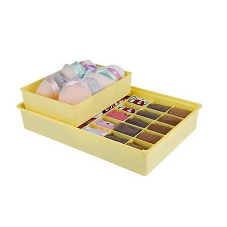 开馨宝双层独立文胸袜子内衣收纳盒-黄色