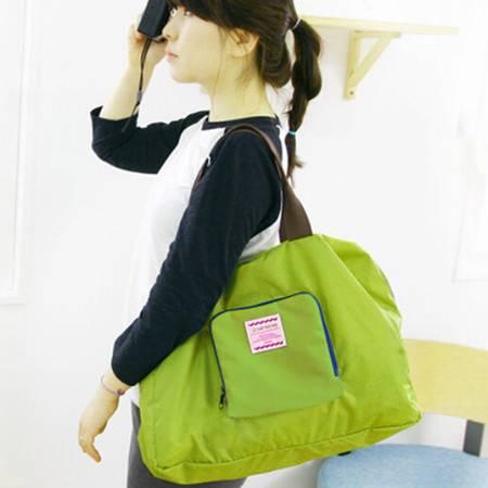 韩国旅行可折叠收纳包购物袋防水单肩包收纳袋 颜色随机