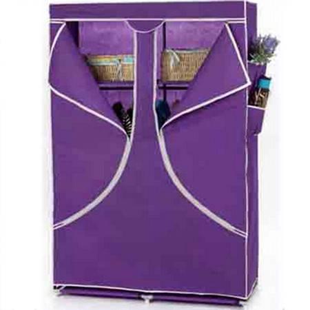 双人加固钢架折叠简易衣柜 中号 紫色
