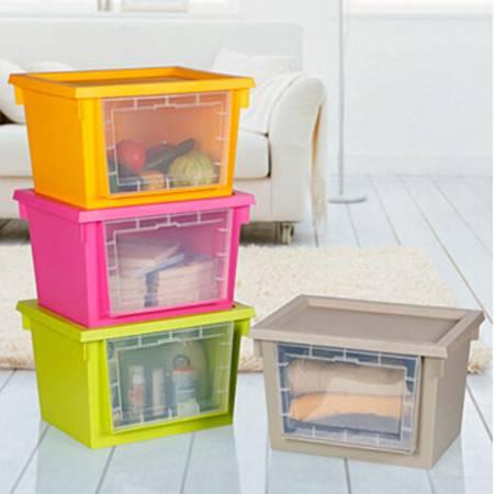开馨宝炫彩透明窗带盖收纳箱 可叠加收纳柜 四个装