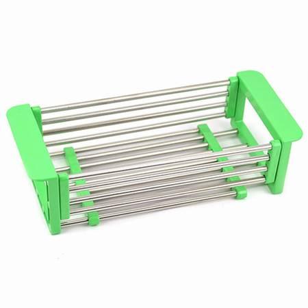 不锈钢伸缩水槽沥水架/洗菜篮绿色