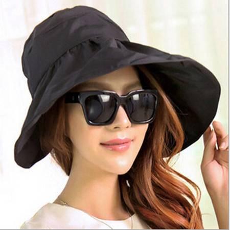 红兔子可折叠遮阳帽防晒帽子防紫外线帽大檐帽海边沙滩太阳帽空顶帽 黑色