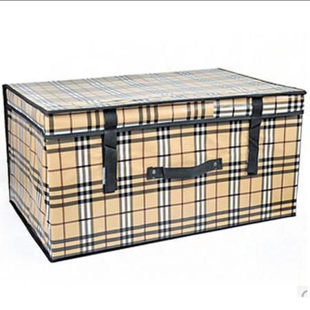 优芬大号有盖衣服收纳箱 被子棉被储物箱整理箱 衣物收纳盒60*40*30cm苏格兰格子