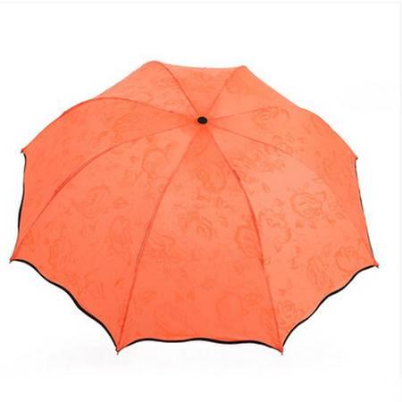 日韩国创意太阳伞遮阳伞 防紫外线雨伞防晒彩虹伞 橙色