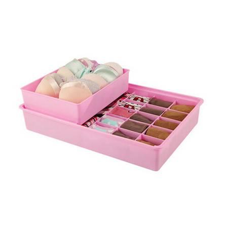 开馨宝双层独立文胸袜子内衣收纳盒-紫色(K8136-3)