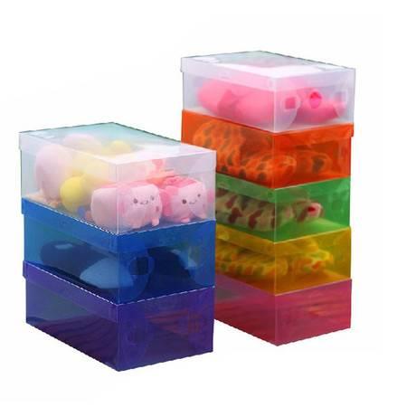 星空夏日 10只装透明pp塑料鞋盒 翻盖式男鞋盒 橙色