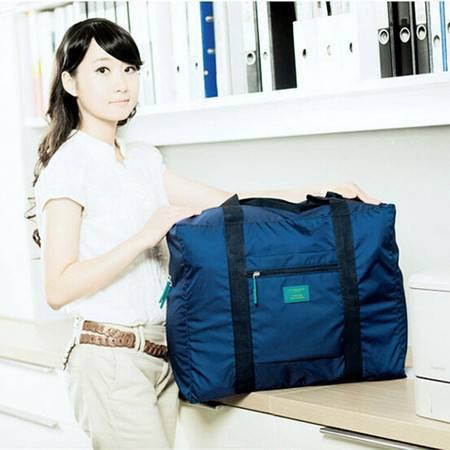 红兔子韩版防水尼龙折叠式旅行收纳包 旅游收纳袋 男女士衣服整理袋 蓝色