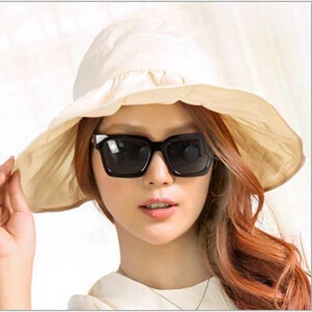 红兔子可折叠遮阳帽防晒帽子防紫外线帽大檐帽海边沙滩太阳帽空顶帽 米色