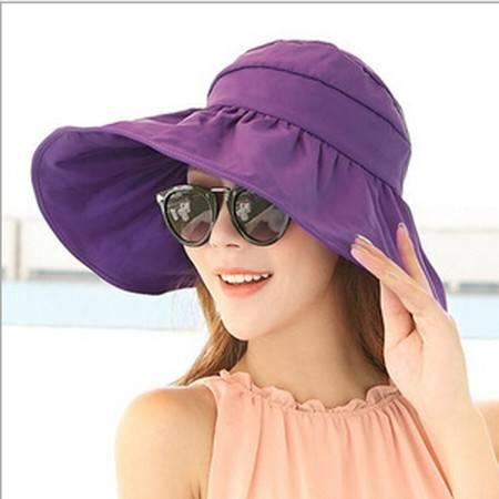 红兔子可折叠遮阳帽防晒帽子防紫外线帽大檐帽海边沙滩太阳帽空顶帽 紫色