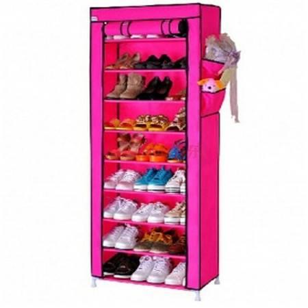 十层加固钢架整理收纳男女鞋柜十层鞋架 玫红色