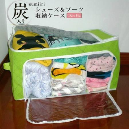 卡秀 收纳 竹炭可视双开毛衣收纳箱 容量 衣物整理箱 杂物收纳(绿色)