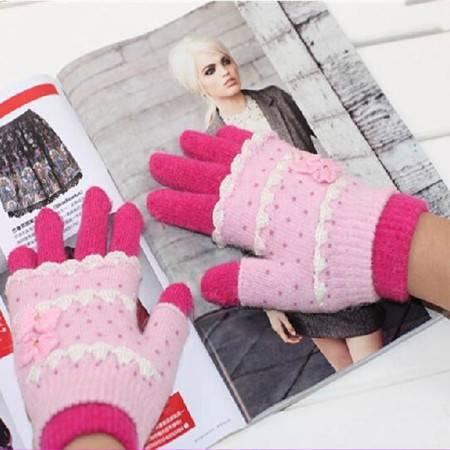 神冠 羊毛兔毛 冬季保暖 女士两用手套 颜色随机