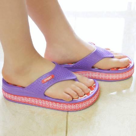 女式居家高跟防滑按摩拖鞋 人字拖鞋 夏季休闲凉拖鞋 (红底紫边) 36码