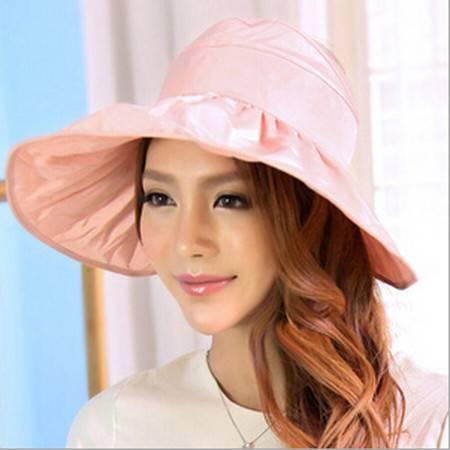 红兔子可折叠遮阳帽防晒帽子防紫外线帽大檐帽海边沙滩太阳帽空顶帽 粉色