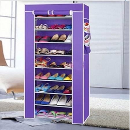 十层加固钢架整理收纳男女鞋柜十层鞋架 紫色