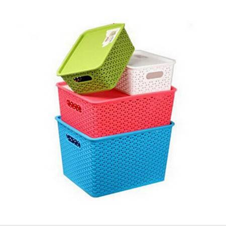 文博 塑料藤编储物篮小号 桌面收纳盒 脏衣服 玩具收纳箱--蓝色