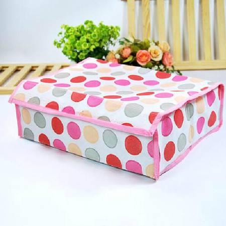 卡秀 收纳-粉色圆圈16格软盖收纳盒(两个装)