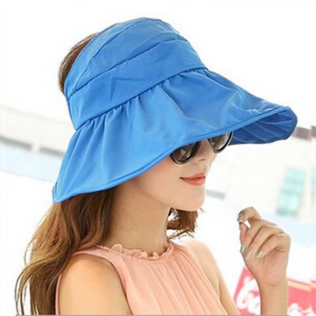 红兔子可折叠遮阳帽防晒帽子防紫外线帽大檐帽海边沙滩太阳帽空顶帽蓝色
