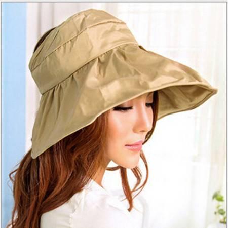红兔子可折叠遮阳帽防晒帽子防紫外线帽大檐帽海边沙滩太阳帽空顶帽 浅咖啡色