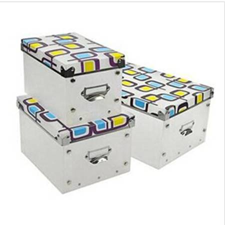 耀点100 精品整理盒三件套 多功能金属边环保PP有盖收纳盒 黄蓝蝴蝶
