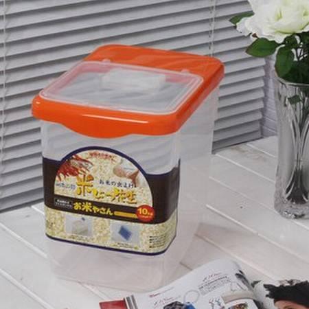 圣强 大号米桶保鲜大米透明储米器储米箱带滑轮送量杯 可装30斤 橘色