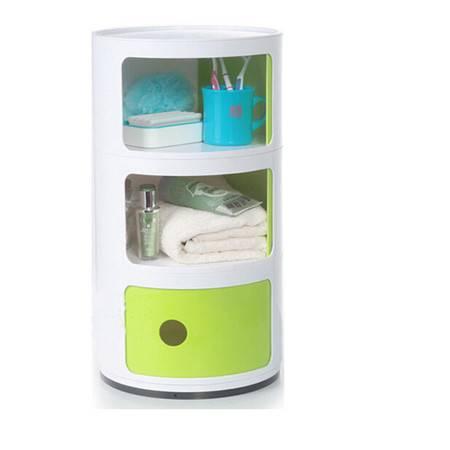 圣强 现代新款塑料潮流带门抽屉储物柜3个装 多功能收纳柜(白色)