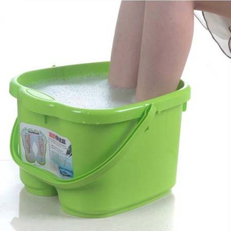 圣强 脚底按摩功能 塑料足浴桶 洗脚盆 洗脚桶足浴盆(绿色)