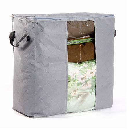 竹炭透明窗衣物收纳袋 防尘袋--灰色
