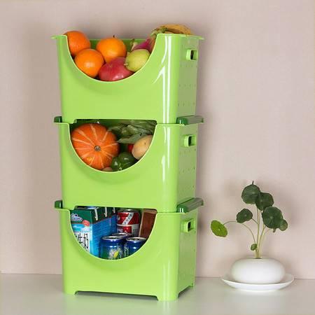 圣强 家居收纳可叠加果蔬箱收纳箱水果收纳筐果蔬 收纳篮(大号三个)36*28*23cm绿色