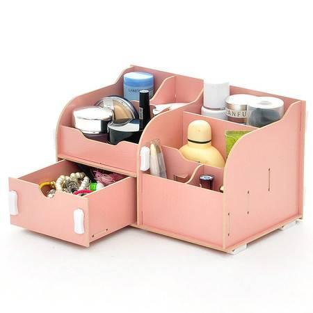 实用二代单抽屉木质收纳盒/化妆盒--粉色
