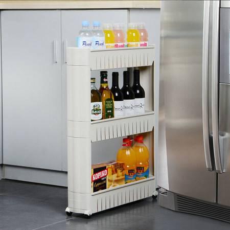 圣强 缝隙收纳整理架 夹缝架 带轮可移动置物车 厨房浴室架三层(白的)