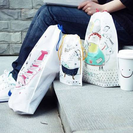 畸良 加厚无纺布束口袋 旅行收纳袋 鞋袋 杂物袋 旅游整理袋(10枚入)