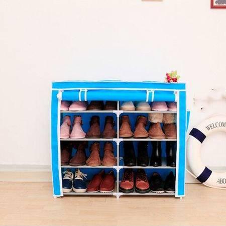 收纳双排五层四格简易鞋柜宜家多功能无纺布防尘鞋橱鞋架 天蓝色