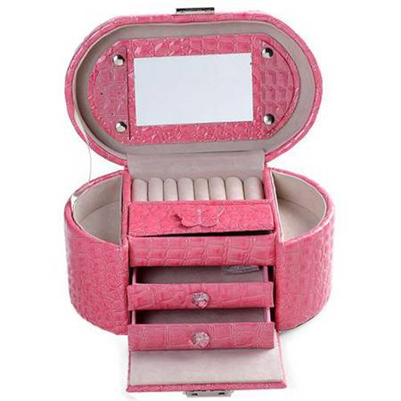 开馨宝公主系列旦形三层首饰盒/饰品收纳盒-粉色鳄鱼纹(K8527-3)