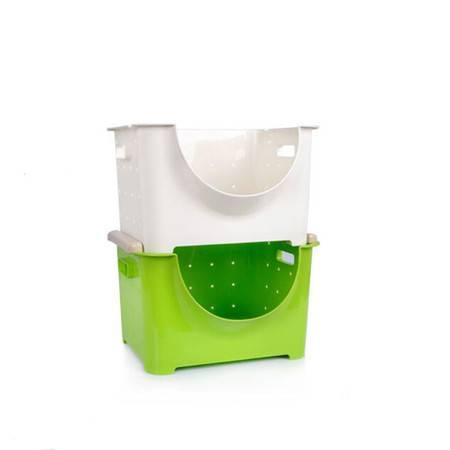 圣强 家居收纳可叠加果蔬箱收纳箱水果收纳筐果蔬 收纳篮(大号单个)36*28*23cm白色