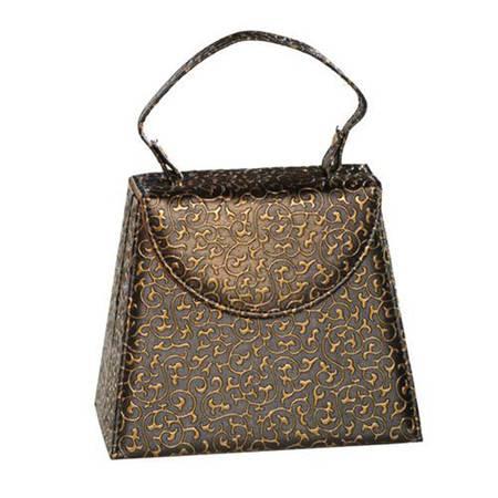 开馨宝手提包造型首饰收纳盒/饰品盒-黑色凸纹(K8509-2)