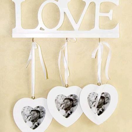 墙壁挂饰心形木质家居墙面装饰LOVE心连心相框挂钩