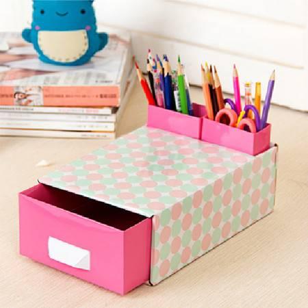畸良JARON出品 DIY桌面抽屉盒+2个笔筒(粉蓝圆点)3只装