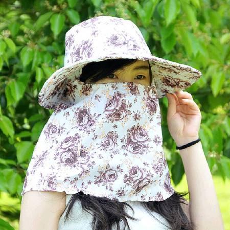 户外防紫外线遮阳帽采茶帽玫瑰花图案大檐咖啡色